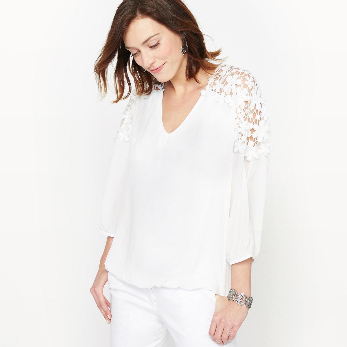 Κρεπ μπλούζα με γκιπούρ δαντέλα γυναικα   μπλούζες   πουκάμισα   τοπ