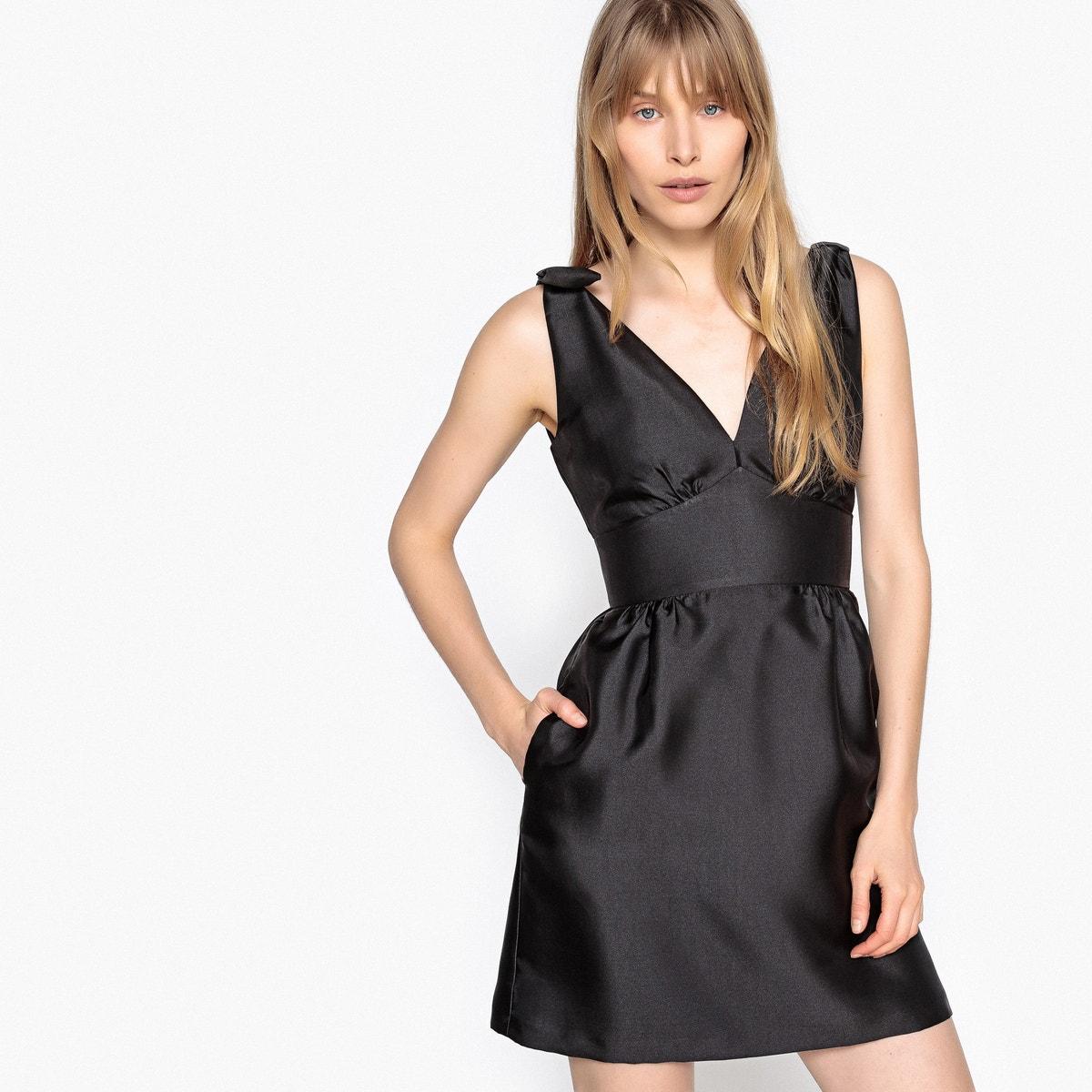 Φόρεμα με βαθύ V και φιόγκους γυναικα   φορέματα   αμάνικα