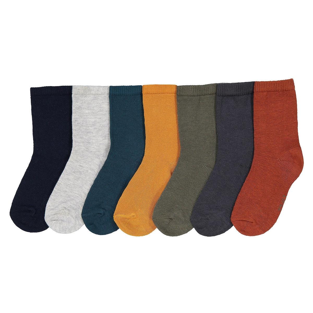 Σετ 7 ζευγάρια μονόχρωμες κάλτσες, 15 18 - 23 26 παιδι   βρεφικά   παπούτσια   κάλτσες   καλσόν