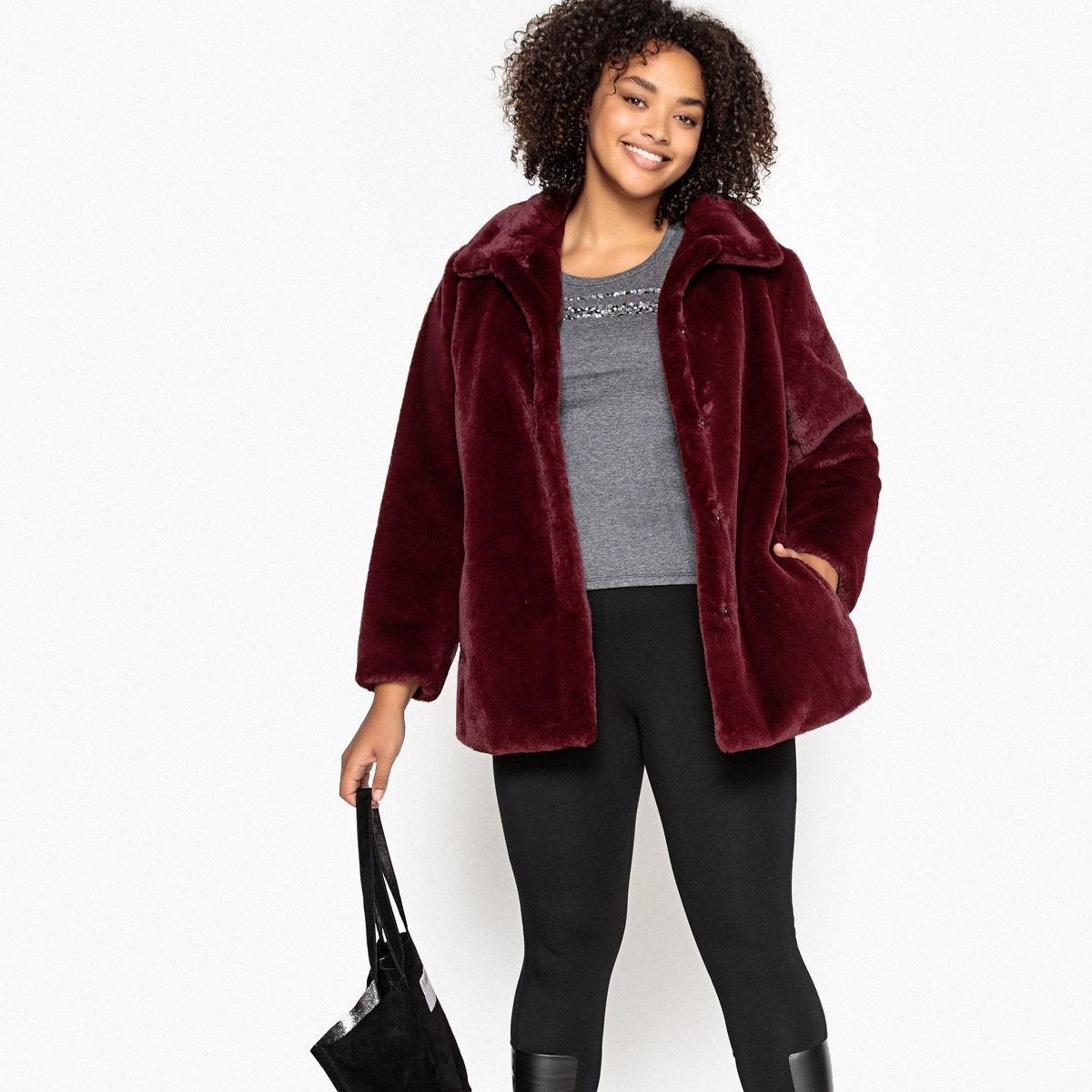 Παλτό με συνθετική γούνα για μεγάλα μεγέθη γυναικα   πανωφόρια   παλτό