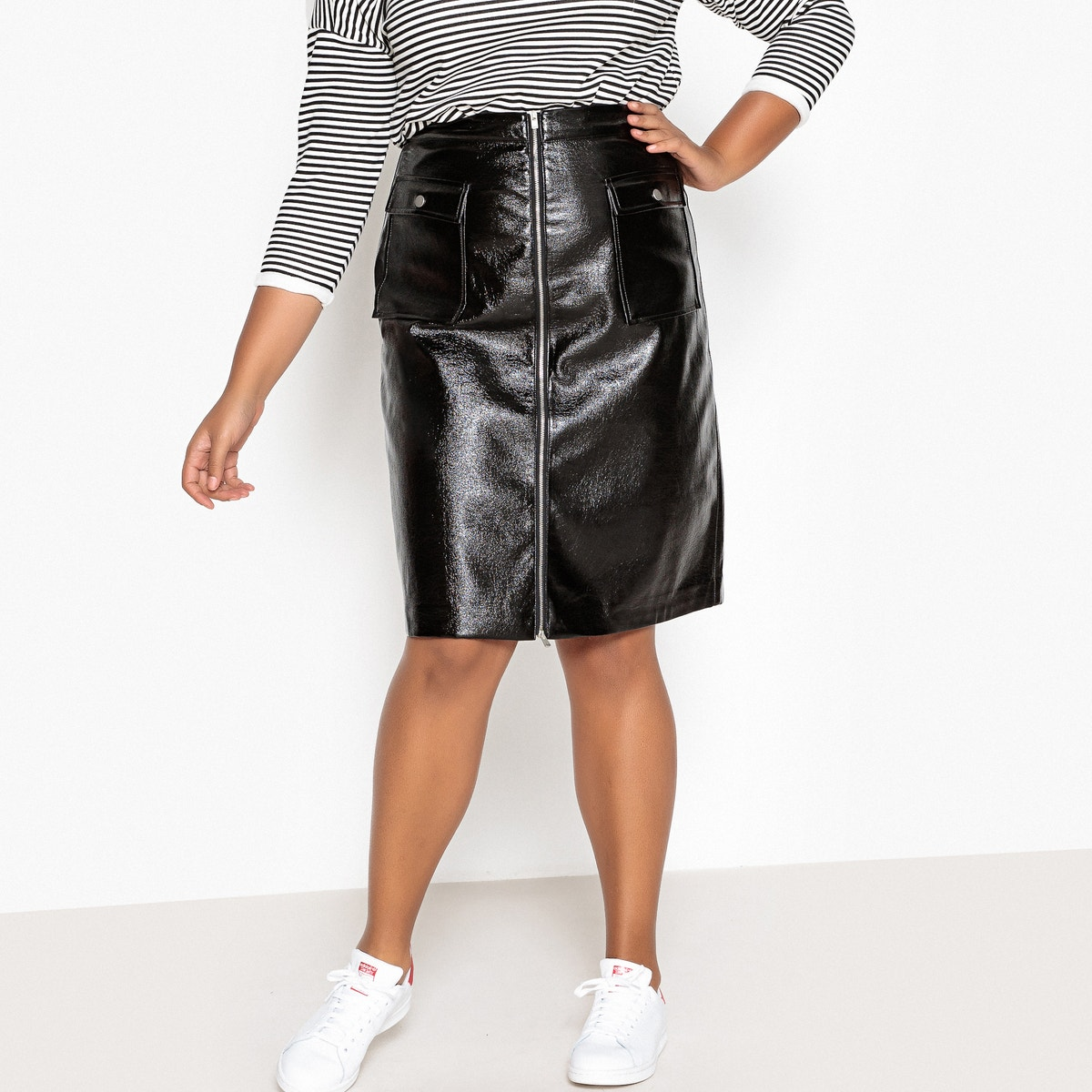 Midi φούστα σε απομίμηση δέρματος για μεγάλα μεγέθη γυναικα   φούστες   maxi