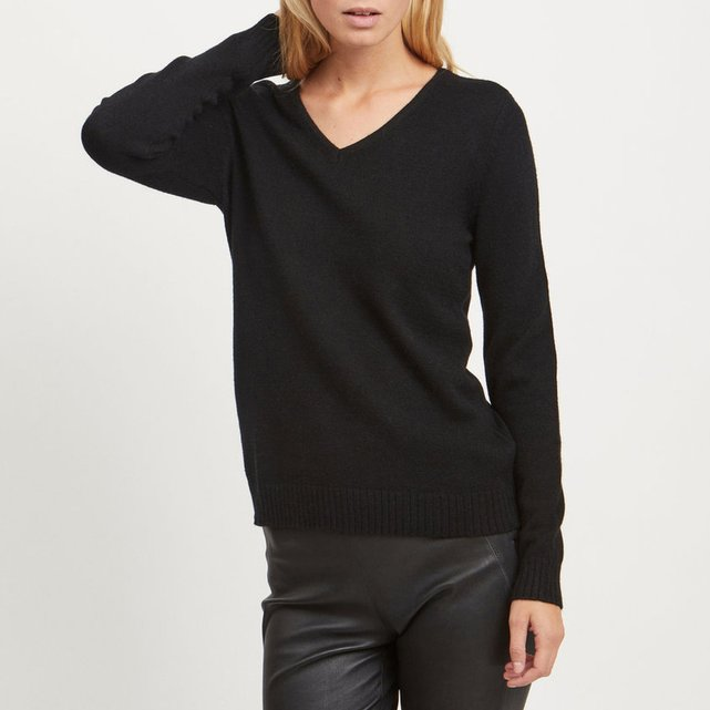 Fine Knit Jumper Sweater with V-Neck