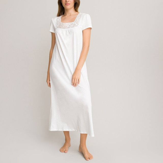 Brushed Cotton and Lace Nightdress