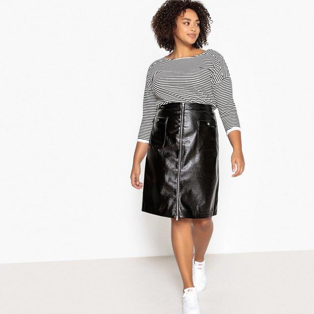 201200b8894b Midi φούστα σε απομίμηση δέρματος για μεγάλα μεγέθη