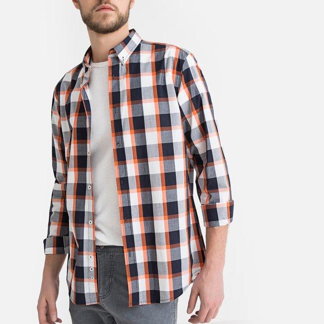 f83804498eb5 Μακρυμάνικο καρό πουκάμισο σε ίσια γραμμή