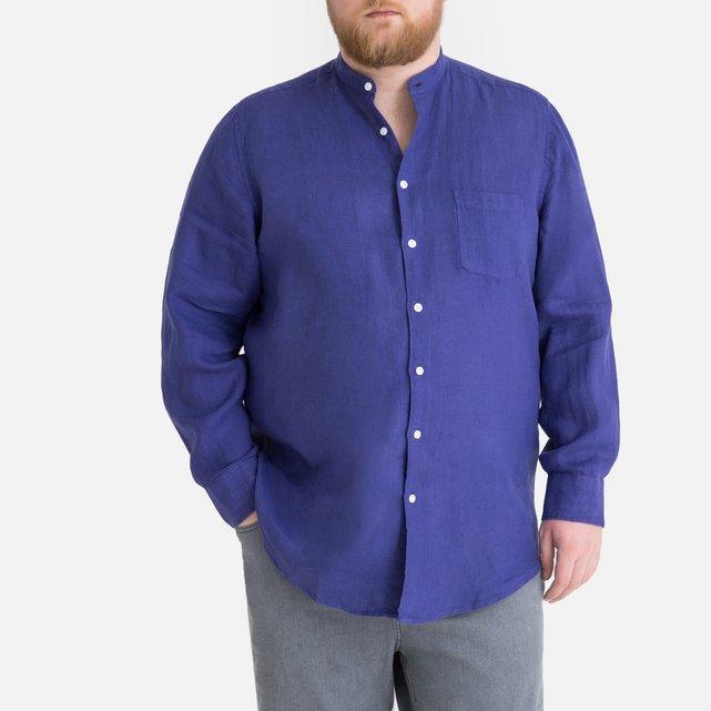 Λινό πουκάμισο με γιακά μάο