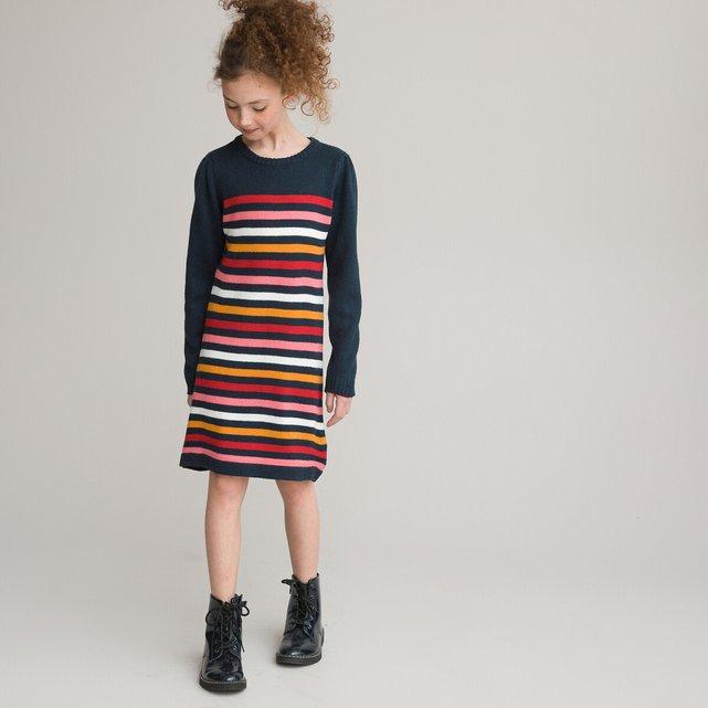 Ριγέ φόρεμα φούτερ πουλόβερ, 3-12 χρονών