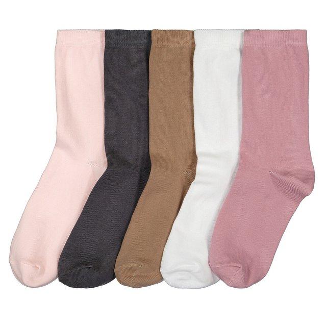 Σετ με 5 ζευγάρια απλές κάλτσες στυλ Crew