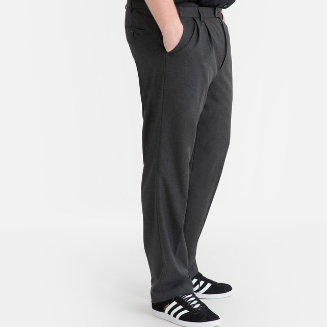 Stretch παντελόνι κουστουμιού με πιέτες, μεσαίου μήκους
