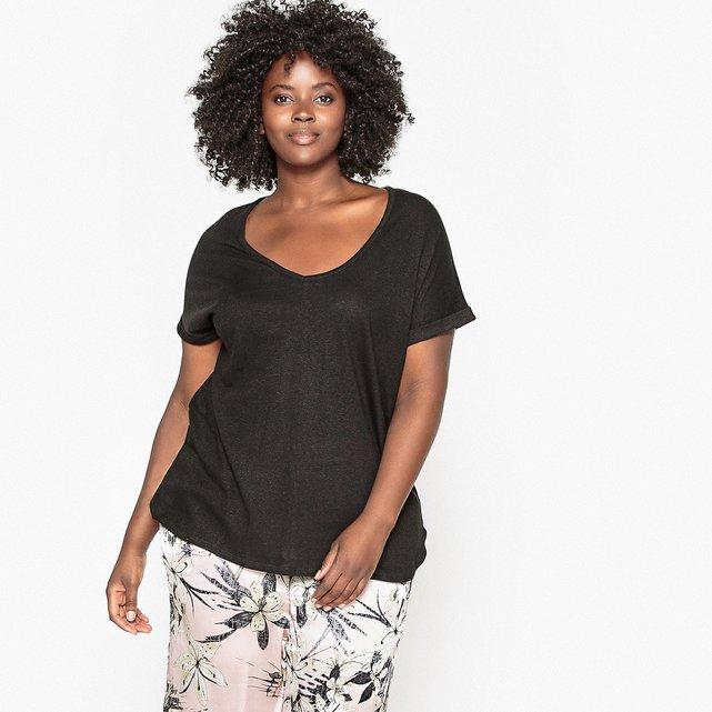 Κοντομάνικη μπλούζα με V λαιμόκοψη