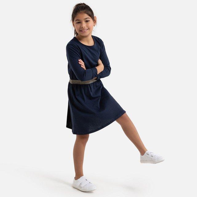 Μονόχρωμο φόρεμα με γυαλιστερή ζώνη, 3-12 ετών