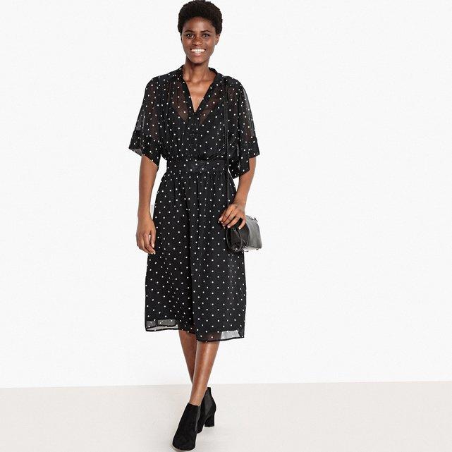 Μακρύ πουά φόρεμα με μάο γιακά και κουμπιά