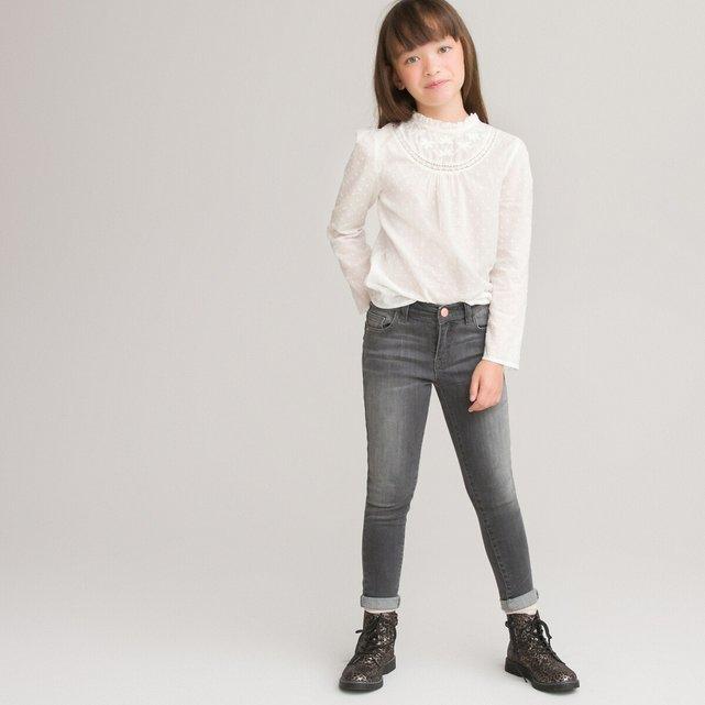 Μακρυμάνικη μπλούζα με κεντημένα πουά, 3-12 ετών