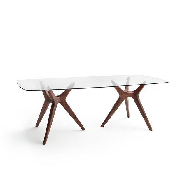 Τραπέζι ορθογώνιο με γυαλί Maricielo