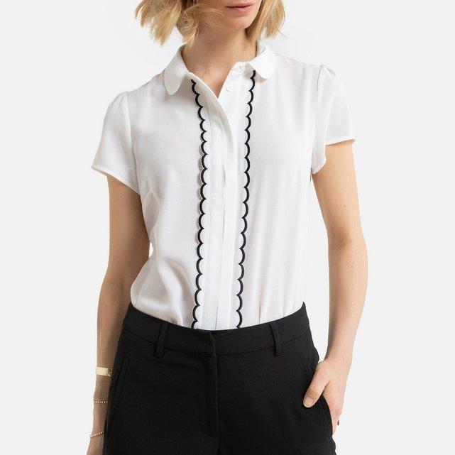 Κοντομάνικη μπλούζα με στρογγυλό γιακά