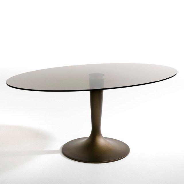 Οβάλ τραπέζι από φιμέ γυαλί Seona