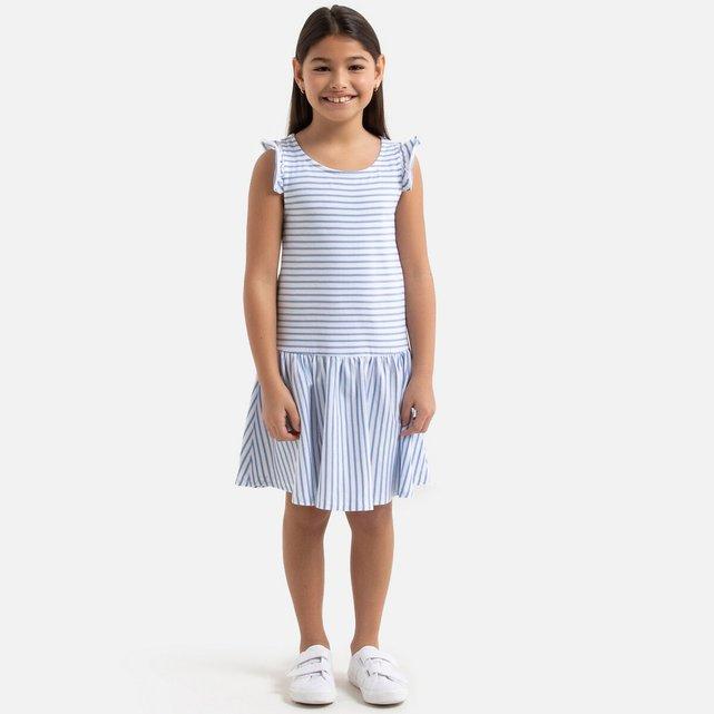 Ριγέ φόρεμα με βολάν στις τιράντες, 3-12 ετών