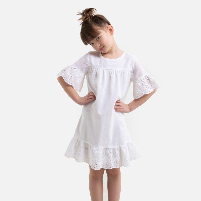 Κοντομάνικο φόρεμα με κοφτό κέντημα, 3-12 ετών