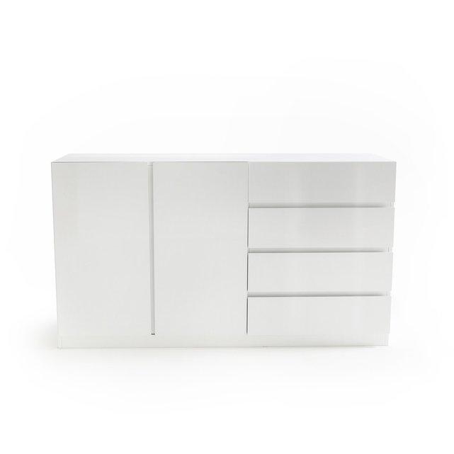 LEO Δίφυλλη χαμηλή ντουλάπα με 4 συρτάρια