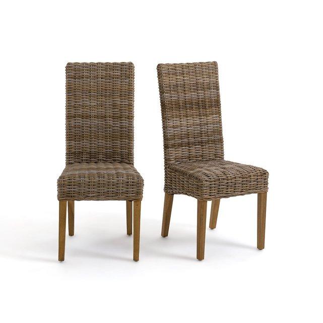 Καρέκλες με πλέξη kubu και ψηλή πλάτη, INQALUIT (σετ των 2)