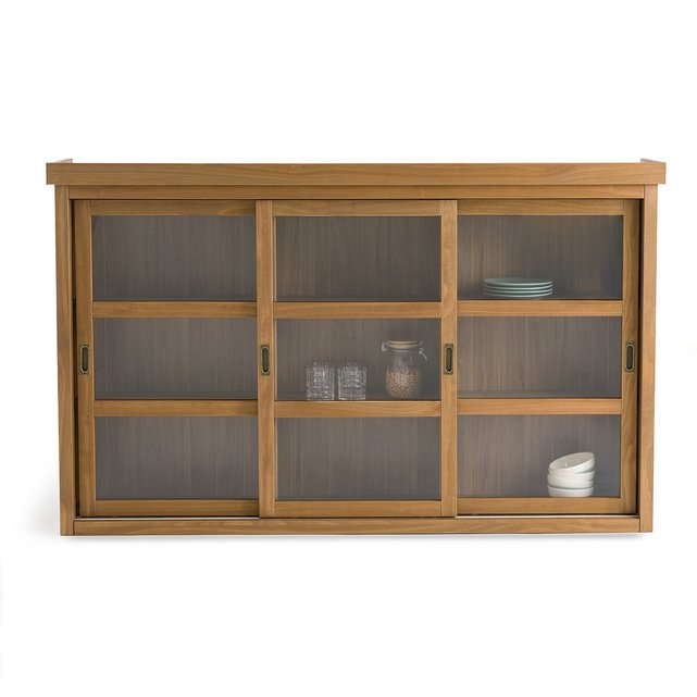LUNJA Triple Highboard in Solid Pine & Glass