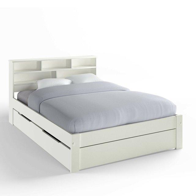 Κρεβάτι με ράφια, μασίφ πεύκο NIKKO