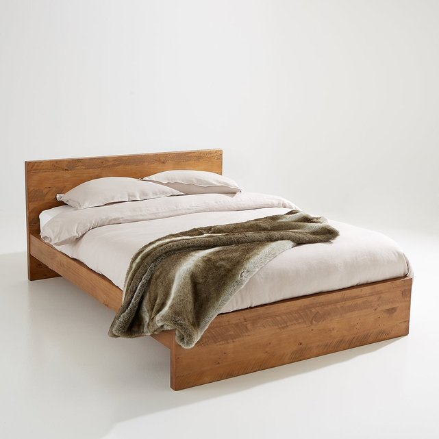 Ρουστίκ κρεβάτι από συμπαγές ξύλο πεύκου χωρίς σανίδες Lunja
