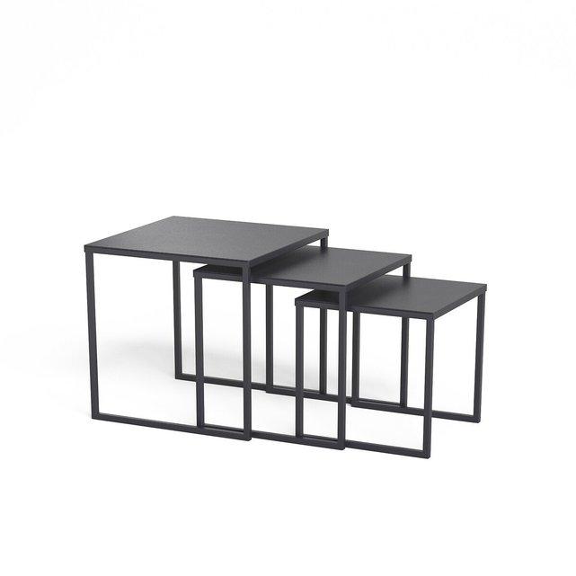 Ατσάλινα τραπέζια ζιργκόν, σετ των 3, Hiba