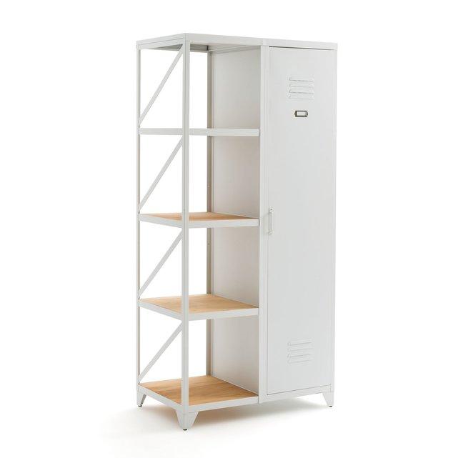 Ντουλάπα-ραφιέρα με 1 πόρτα, από μέταλλο και ξύλο, Hiba