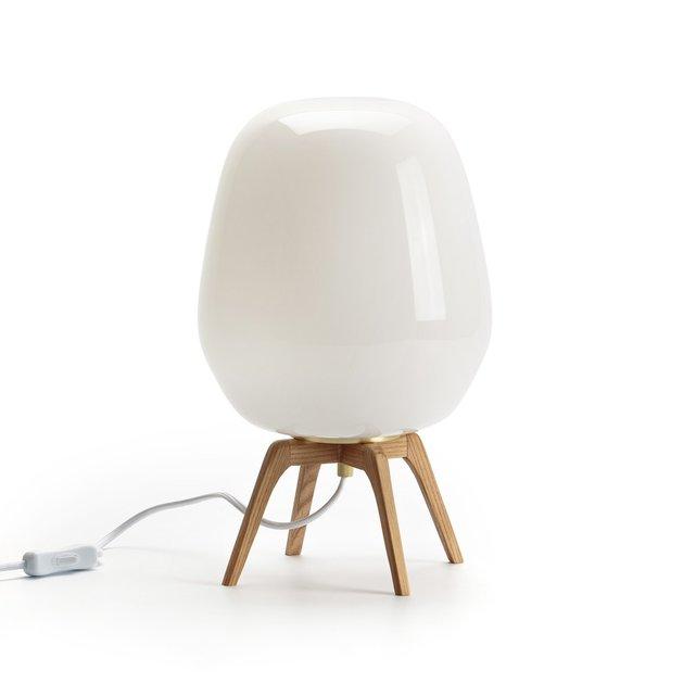 Επιτραπέζιο φωτιστικό Boldo, από οπαλίνα και ξύλο
