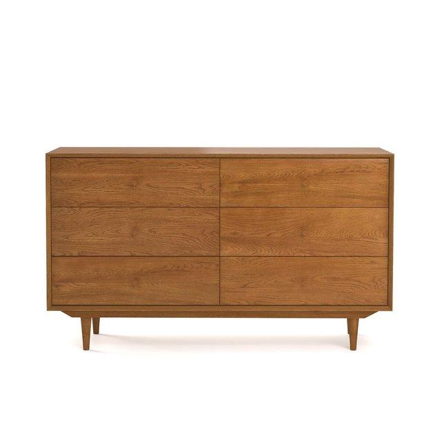 Συρταριέρα vintage από ξύλο δρυ με 6 συρτάρια, Quilda