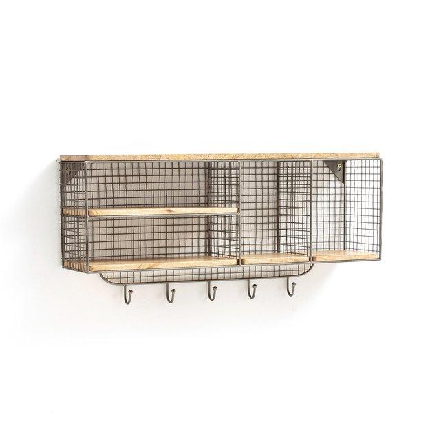 Ραφιέρα τοίχου με κρεμάστρα από μέταλλο και ξύλο, AREGLO
