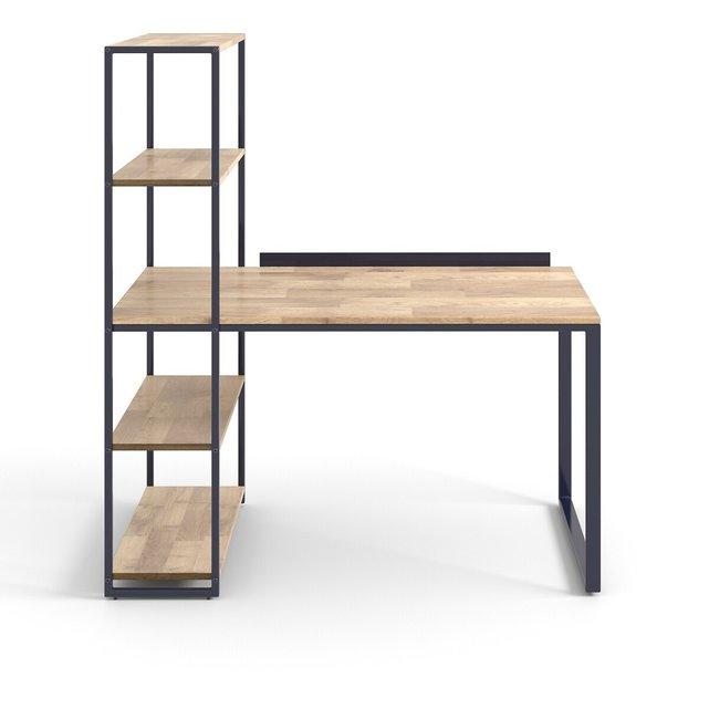 Γραφείο-βιβλιοθήκη από μέταλλο και μασίφ ξύλο δρυ, Hiba