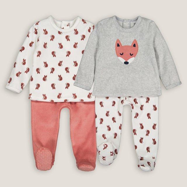 Σετ 2 βελουτέ πιτζάμες, 1 μηνός - 4 ετών
