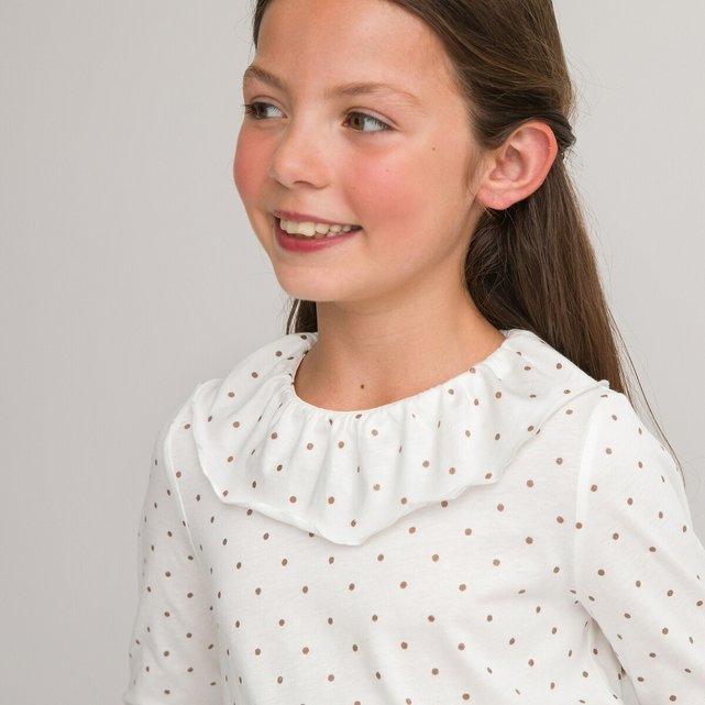 Μπλούζα με στρογγυλή λαιμόκοψη, βολάν και πουά, 3-12 ετών