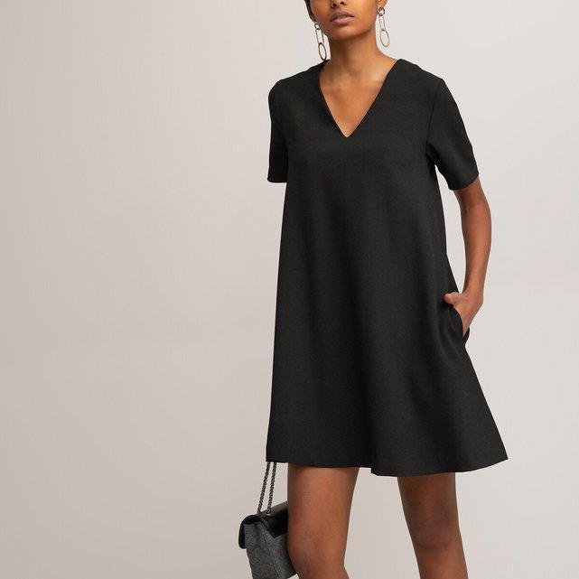 Κοντομάνικο εβαζέ φόρεμα με V από κρεπ