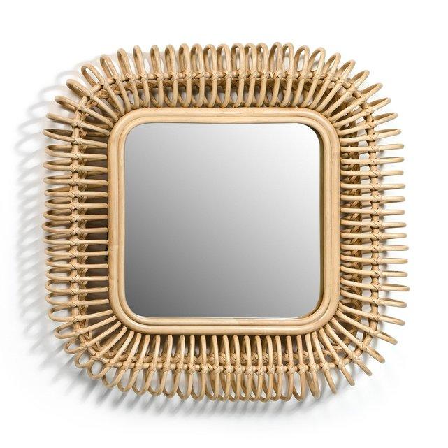 Τετράγωνος καθρέφτης από ρατάν Π55 x Υ55 εκ., Tarsile