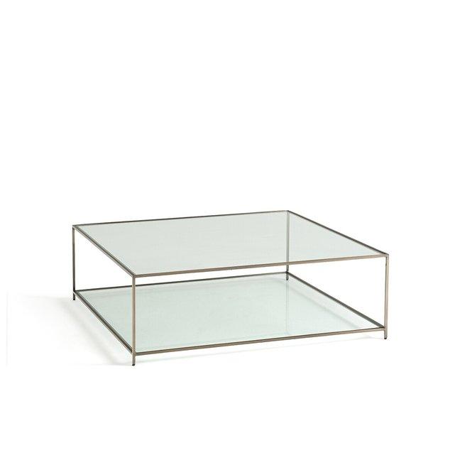 Χαμηλό τετράγωνο τραπεζάκι από σκληρυμένο γυαλί, Sybil
