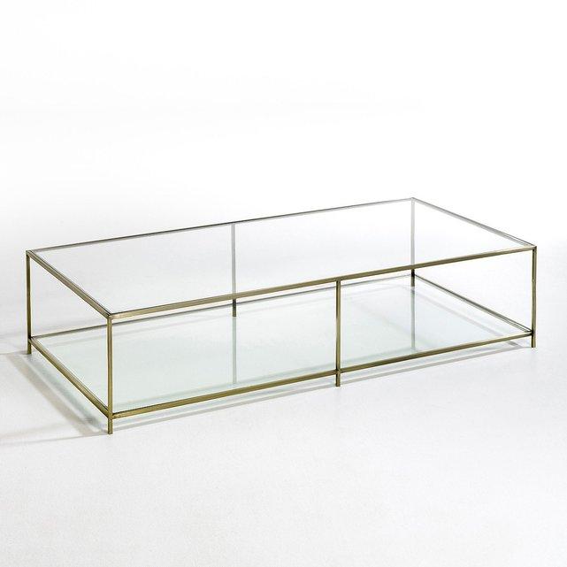 Ορθογώνιο χαμηλό τραπεζάκι από σκληρυμένο γυαλί, Sybil