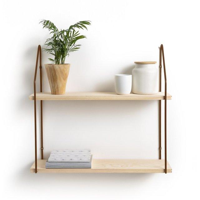Διπλό ράφι τοίχου από ξύλο και μέταλλο, VINTO