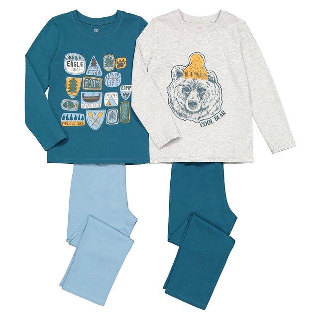 Σετ 2 βαμβακερές πιτζάμες με στάμπα, 2-12 ετών