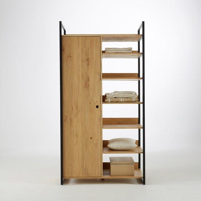 Μονάδα ντουλάπας με 1 πόρτα, ράβδους για κρεμάστρες και 6 ράφια, HIBA