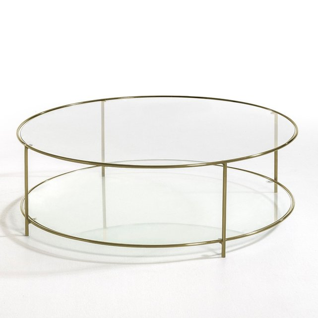 Χαμηλό στρογγυλό τραπεζάκι από σκληρυμένο γυαλί, Sybil