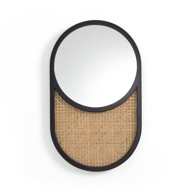 Καθρέφτης από ξύλο δρυ και ψάθα, Waska