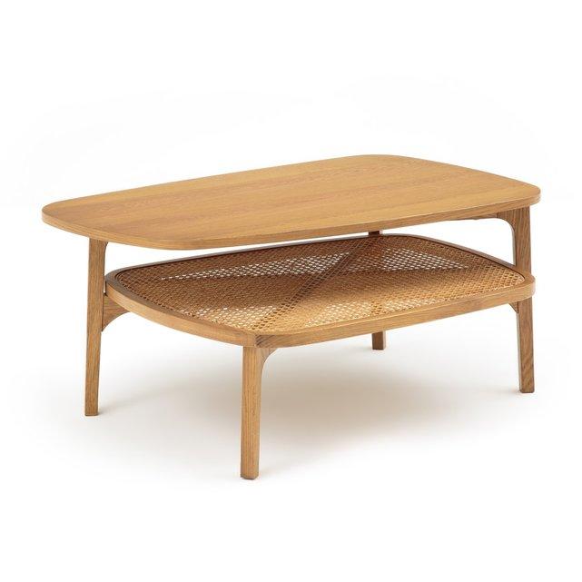 Χαμηλό τραπεζάκι από ξύλο δρυ και ψάθα, BUISSEAU