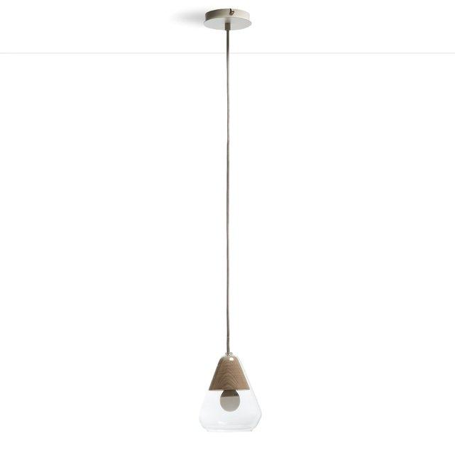Φωτιστικό οροφής από γυαλί και ξύλο, Nasoa