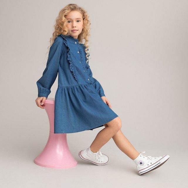 Τζιν φόρεμα με βολάν, 3-12 ετών