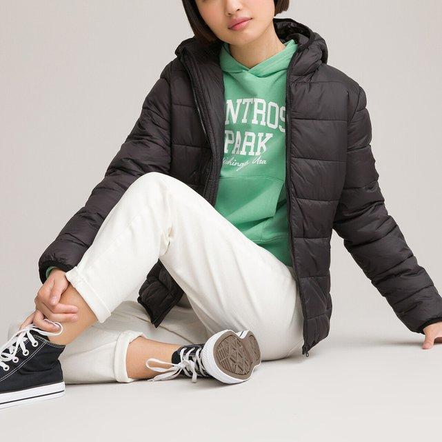 Καπιτονέ μπουφάν με κουκούλα και τσαντάκι, 10-16 ετών