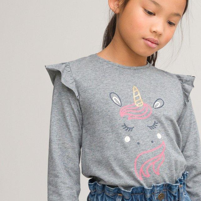 Μακρυμάνικη μπλούζα με βολάν, 3-12 ετών
