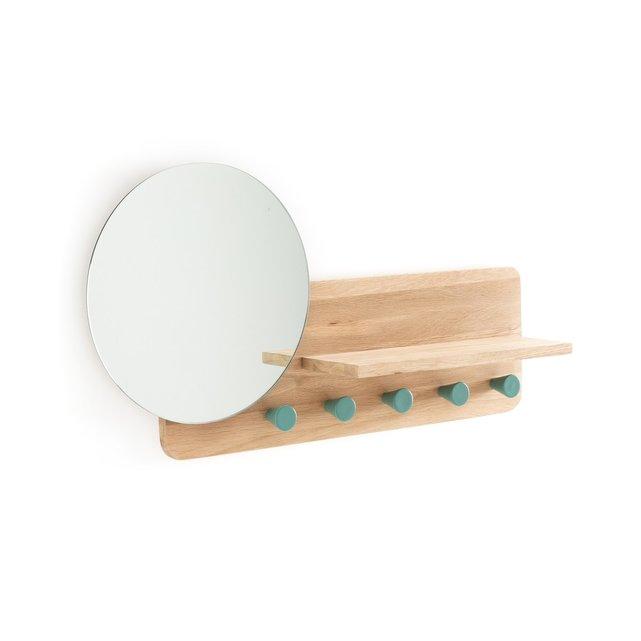 Κρεμάστρα από ξύλο δρυ με καθρέφτη, Nyjo